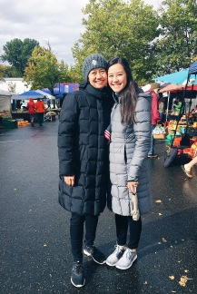 At the farmers market. You'd think it was 20 degrees! It was just windy and rainy