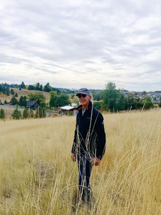 Enjoying a walking trail near our home